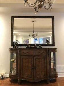 Solid cherry wood hutch/server and mirror set