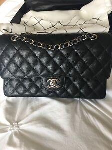 Chanel black classic flap medium large