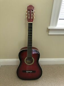 Red classical guitar