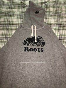 Roots Hoodie Salt and Pepper size small