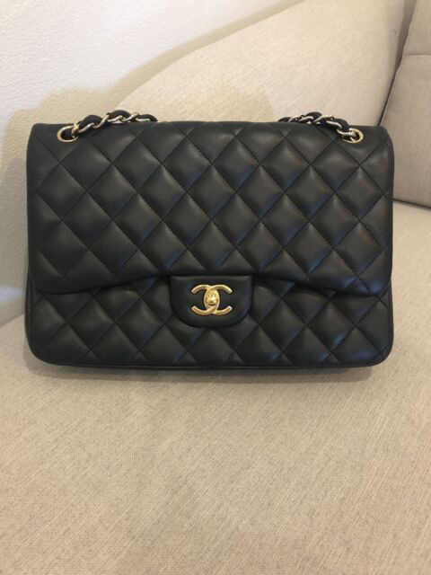 6dd5c8a8d5555b Authentic CHANEL black lambskin quilted classic jumbo double flap bag