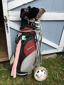 Ladies lefty golf clubs and cart