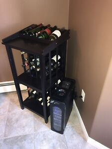 Wine rack and bottles