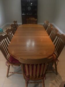 Kitchen table and 10 chairs - solid Oak
