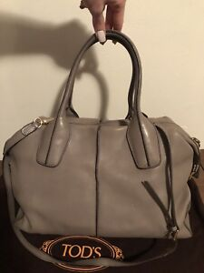 Authentic Tod's Dove Grey D-Styling Bauletto Large Bag