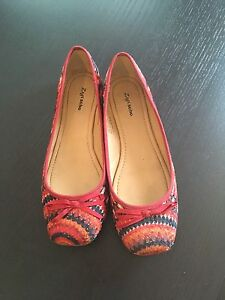 Colourful Fabric Flats from Town Shoes - Size 7.5