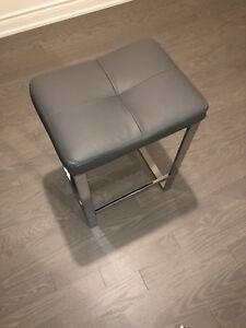 4 Grey Faux Leather and Chrome Counter Stool
