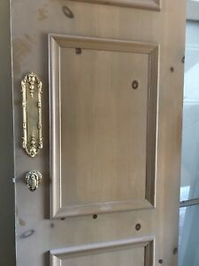 Solid wood French design doors, stained glass window, Cabinet