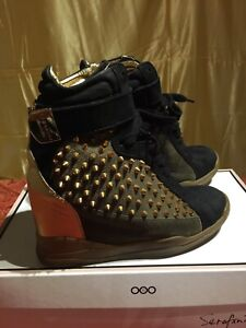 Serafini Military gold studded suede Sneaker size 37 IT