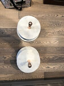 Marble and rose gold cake stands