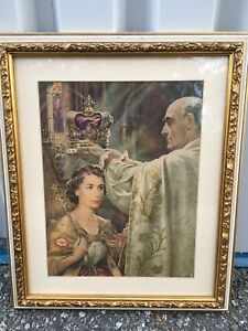Picture - professionally framed of Queen Elizabeth's coronation