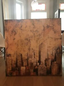 Large print cityscape artwork on canvas