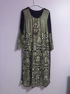 New Dhanak original 3piece chiffon embrioded suit xl