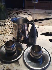 Starbucks milk pitcher,milk frother,2 espresso cups/saucers