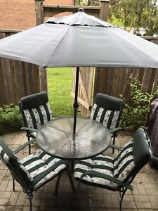 Patio / Deck Furniture (Table, chairs with cushions, umbrella)