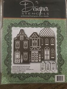 New-Martha Stewart Townhouse Cookie Stencil Set
