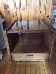End Tables Wooden (2 matching) with glass tops and drawers  $75