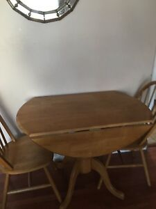 Drop leaves kitchen tables w 2 chairs sold wood