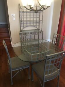 Dining table 4 chairs and bakers rack