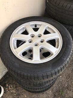 "15 "" Subaru alloys + good tyres."