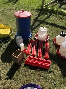 various chicken feeders and waterers  and heat lamps