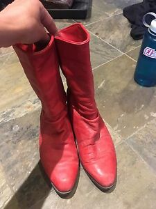 Vintage real leather red cowboy boots