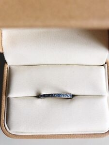 Women's 14k white gold and sapphire band