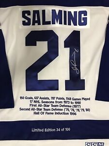Borje Salming Limited Edition Autographed Maple Leafs Jersey
