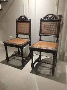 Antique Oak Canned Chairs Set of 2