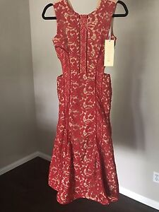 Red Lace Couture FORMAL Midi DRESS size SM