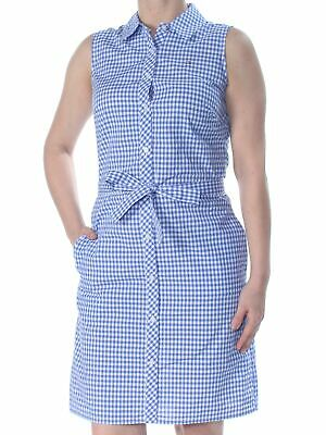 TOMMY HILFIGER Womens New 1268 Blue Check Tie Sleeveless Shirt Dress Dress 4 B+B
