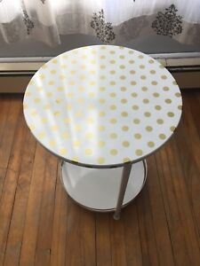 White Side Table w/ gold polka dots