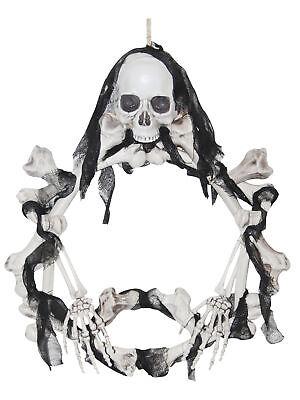 Skull and Bones Wreath Light-Up Halloween Door Decoration Prop
