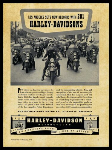 1943 Harley Davidson Motorcycles NEW Metal Sign: Los Angeles Police Dept. Pic