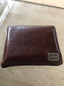 Mens brown leather wallet by FOSSIL