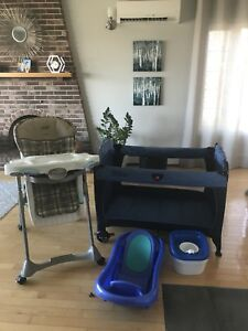 Baby LOT!!  playpen, high chair, tub and potty