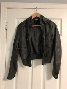 Grey Vegan Leather Jacket - Size small