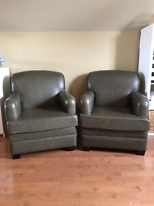 Olive green leather chair set