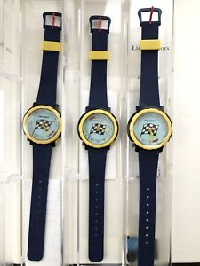 $25 each Peugeot watch with alarm, blue & yellow NEW