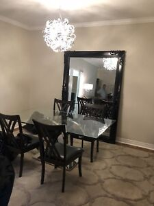 Staging Items: Floor Mirror and Designer Glass Table