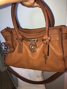 Michael kors hamilton bag gold and brown