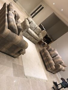 Love Sofa Grey n Gold 3 pcs Rich Fabric Barely Used