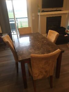 Granite look table and 4 chairs