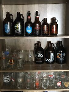 Pint glasses and growlers