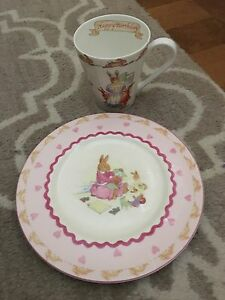 Royal Doulton Bunnykins Pink Plate & Cup