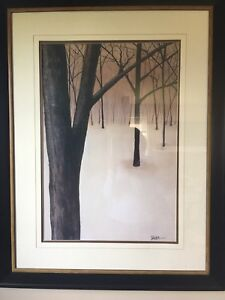 Large framed and matted picture