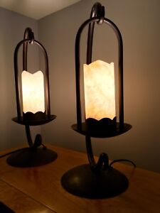 Hand made wrought iron and glass Table Lamps