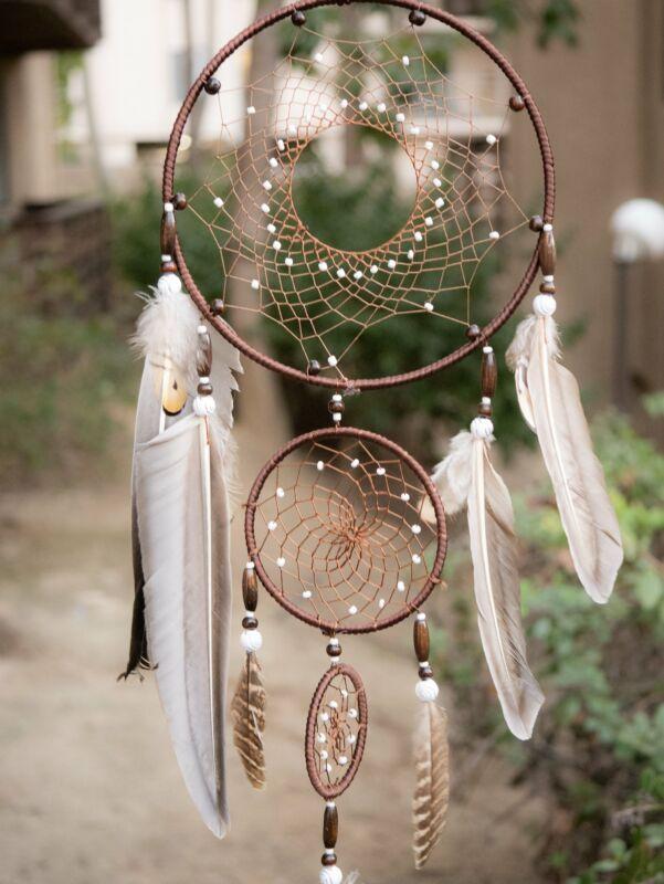 Triple Brown Dream Catcher Native American Dreamcatcher Wall Hanging
