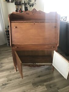 Antique wood desk cupboard - need large refinished