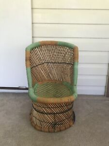 1f0ffea33553 Vintage boho cane kids chair